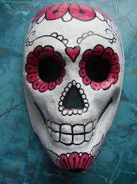 halloween skeleton masks dia de los muertos paper mache skull flower mask ooak 35 00 via