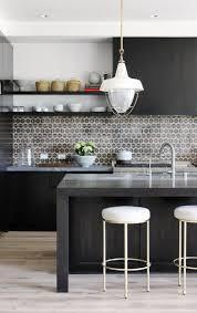Manhattan Kitchen Design Grey Kitchen Design With Black Kitchen Island Patterned Backsplash