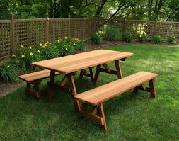 Red Cedar Octagon Walk In Picnic Table by Red Cedar Picnic Table W Benches
