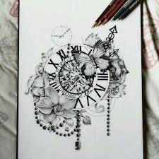 drawn pocket watch flower pencil and in color drawn pocket watch