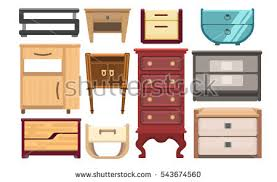 bedroom furniture bedside cabinets interior furniture set bedroom furniture bedside stock vector
