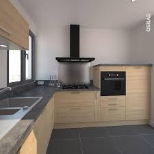 demi colonne cuisine cuisine en bois clair structuré stilo noyer blanchi hotte inox