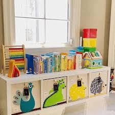 Toy Bookcase Childrens Toy Storage Gray Comfy Sofa Beige Pattern Cushion