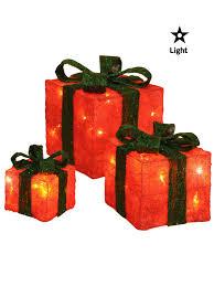 set of 3 led gift boxes decorations light up