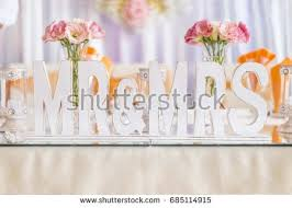 mr mrs wedding table decorations wedding table decoration mr mrs letters stock photo royalty free