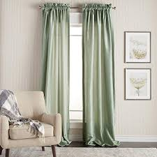 108 inch sage color faux silk curtains panel pair set green solid