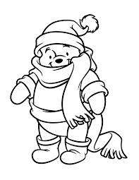 pooh in winter clothes coloring page animal pages of