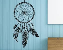 chambre n馮ative dreamcatcher mural sticker america plumes hippie bohème