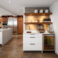 Kitchen Wine Cabinets Contemporary Coffee Bar Kitchen With Wine Fridge And Wall Shelves