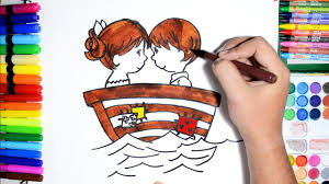 draw color paint cute couple boy in boat coloring pages and