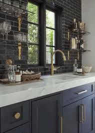 kitchen cabinets black white ceramic tile backsplash white