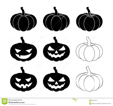 halloween pumpkin silhouette set vector illustration jack o