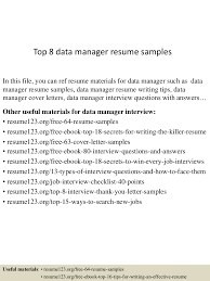 entry level management resume samples top8datamanagerresumesamples 150424221349 conversion gate01 thumbnail 4 jpg cb 1429931676