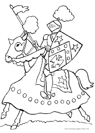 charging knight color fantasy medieval coloring pages color