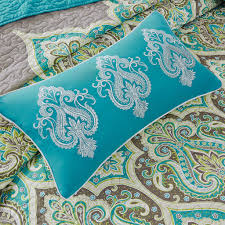 Teal Coverlet Madison Park Nisha 6 Piece Quilted Coverlet Set Ebay