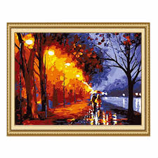 Home Decor Au Au Acrylic Paint By Number Kit Forest Painting On Canvas Home