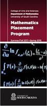 mathematics placement at uofsc department of mathematics