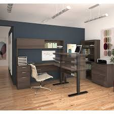 Commercial Desk Digital Height Adjustable L Shape Desk With Hutch Lateral File