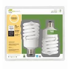 100w cfl light bulbs ecosmart 23 watt 100w dimmable soft white cfl light bulb 2 pack