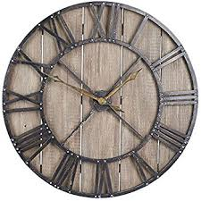 large wall clock amazon com household essentials large oversized decorative rustic
