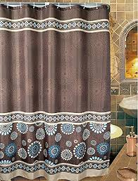 72 X 78 Fabric Shower Curtain Uphome 72 X 78 Inch Cool Circle Floral Pattern Coffee Brown Blue