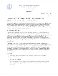 circular a 129 transmittal letter the white house