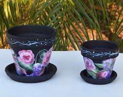 Shabby Chic Flower Pots by Clay Flower Pots Etsy