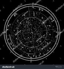 Northern Hemisphere Map Astrological Celestial Map Northern Hemisphere Horoscope Stock