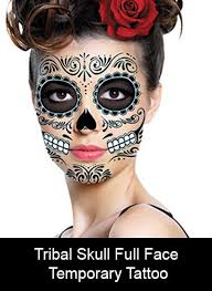 temporary face tattoo tribal skull
