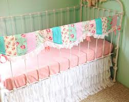 Shabby Chic Crib Bumper by Baby Bedding Crib Bedding Linen Pink And Lace Crib Bedding