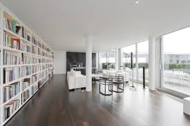 apartments contemporary white lounge with dark brown floor and