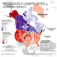 Northern Canada Map by Religiously Unaffiliated In Northern America U2013 Cartomission