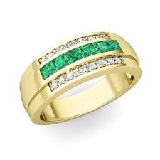 Mens Wedding Ring 2 by Princess Cut Emerald Diamond Mens Wedding Band Ring In 14k Gold