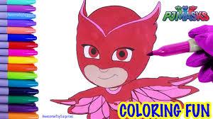 pj masks owlette coloring fun coloring activity kids