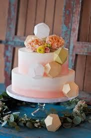 Origami Wedding Cake - origami embellished coral ombre wedding cake