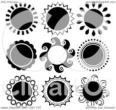 clipart of black and white sun designs royalty free vector