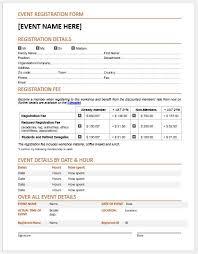 Registration Form Template Excel Event Registration Forms Template For Ms Word Word Excel