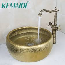 kemaidi round paint golden bowl sinks vessel basins with