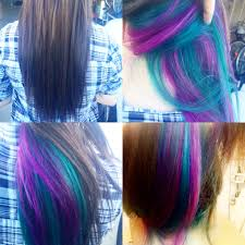 short hairstyles with peekaboo purple layer peek a boo underneath purple and teal accent highlights can t see