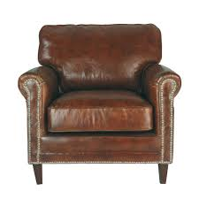 Distressed Leather Dining Chairs Distressed Leather Armchair In Brown Sinatra Maisons Du Monde
