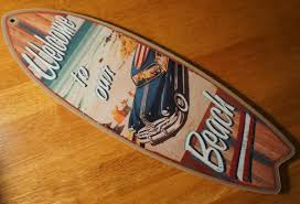 welcome to our beach woody wagon rustic surfboard sign surfer