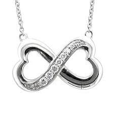 stone diamond necklace images Sterling silver infinity heart 7 stone diamond pendant jpg