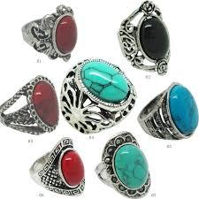 gemstone rings silver images 2018 vintage turquoise antique silver rings adjustable sizevintage jpg