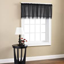 curtains at walmart black and white kitchen window panels valance