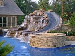 Backyard Pool With Slide Design Inspiration The Pool Of Your Dreams Straight Line Landscape