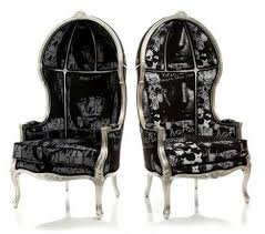 calle black white silver canopy chair