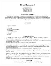 resume entry level objective examples resume example college professor resume sample free sample cv for