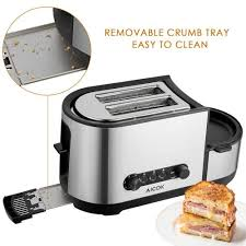 Easy Clean Toaster Aicok Toaster And Egg Cooker 2 Slice Toaster With Extra Wide