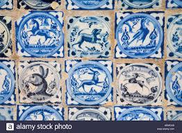 seville spain real alcazar ceramic tiles with animal and bird