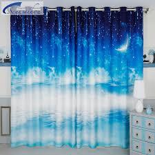 Bedroom Curtains Blue Senisaihon 3d Blackout Curtains Blue Star Night Sky Scenery